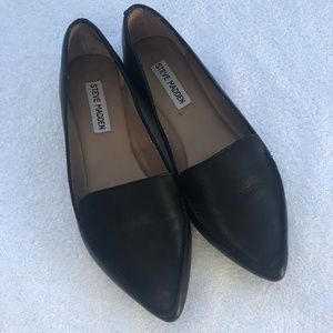 NEW Steve Madden Feather Loafer Flats Black 7W